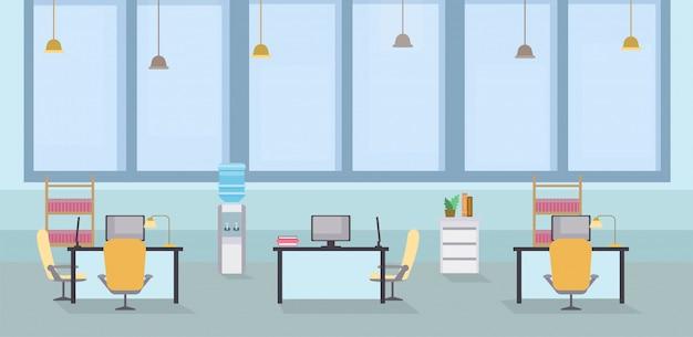 Ilustração interior do vetor dos desenhos animados do escritório vazio. espaço aberto de coworking, mesas com cadeiras no local de trabalho