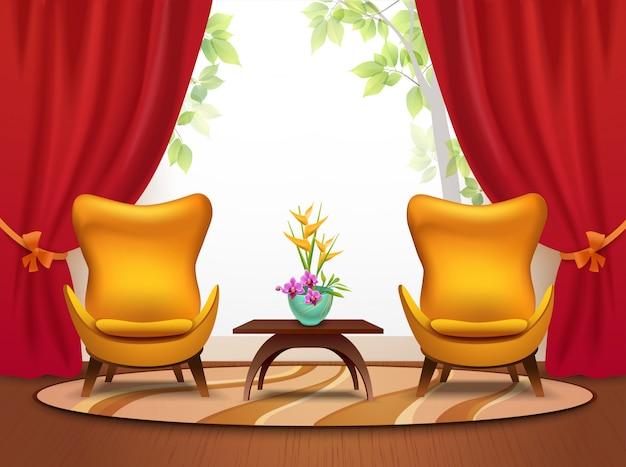 Ilustração interior dos desenhos animados sala estar