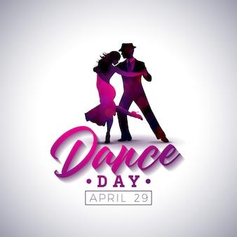 Ilustração internacional do dia da dança com pares da dança do tango no fundo branco.