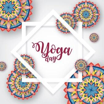 Ilustração internacional do dia de yoga com ornamento mandala
