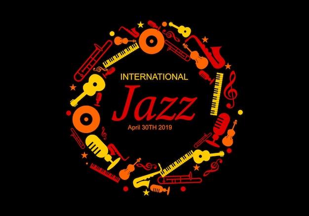 Ilustração internacional do vetor do dia do jazz