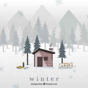 Ilustração inverno nevado
