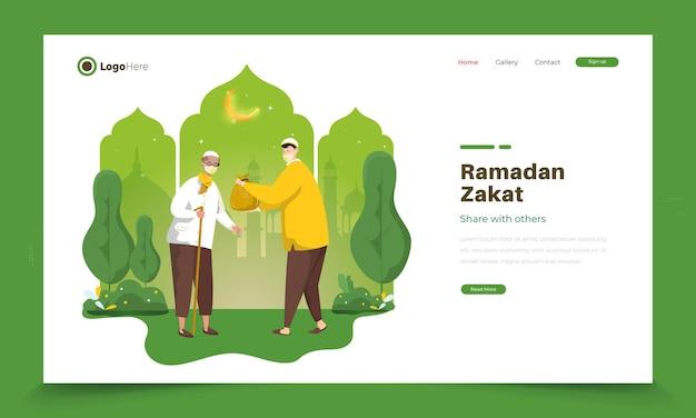 Ilustração islâmica do ramadã sobre o ramadã zakat ou compartilhe entre si