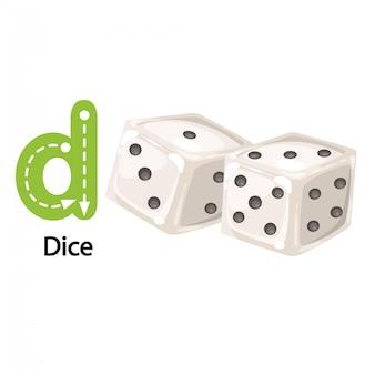 Ilustração isolada alfabeto letra d-dice