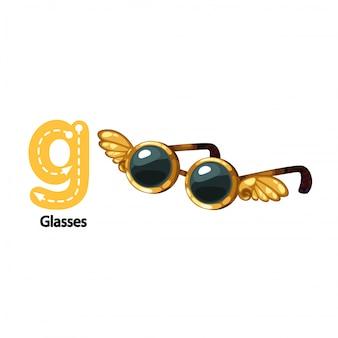Ilustração isolada alfabeto letra g-óculos