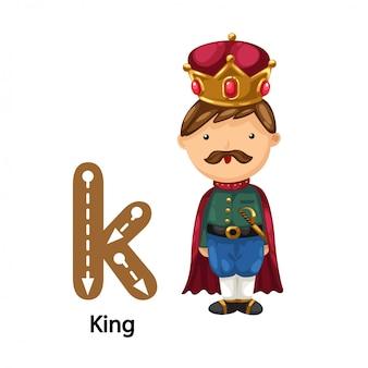Ilustração isolada alfabeto letra k-king