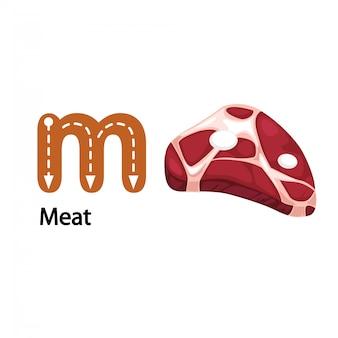 Ilustração isolada alfabeto letra m-meat