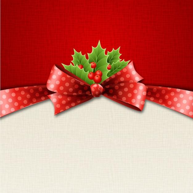 Ilustração isolada azevinho de natal realista e laço vermelho.