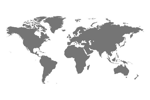 Ilustração isolada cinza político do mapa do mundo.