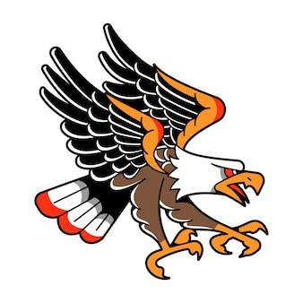 Ilustração isolada com a águia americana clássica selvagem e da liberdade no vintage, estilo retro.