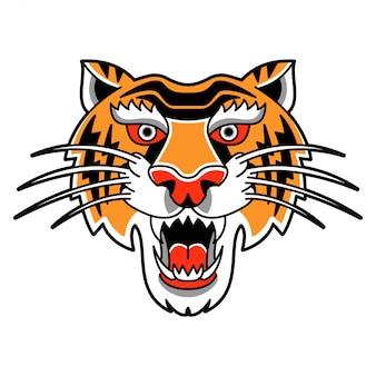 Ilustração isolada com cabeça selvagem de tigre em estilo retro vintage.