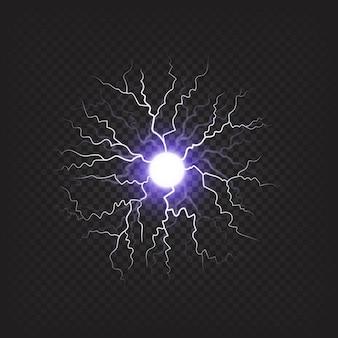 Ilustração isolada da bola de fogo violeta brilhante de sniny