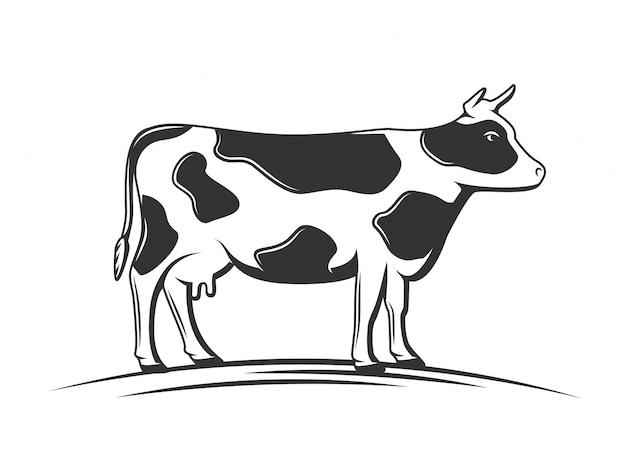 Ilustração isolada da silhueta da vaca