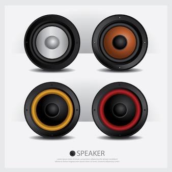 Ilustração isolada de alto-falantes