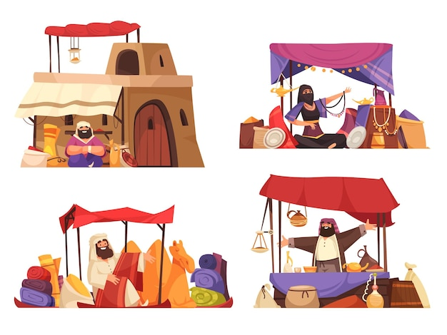 Ilustração isolada de bazar oriental ao ar livre