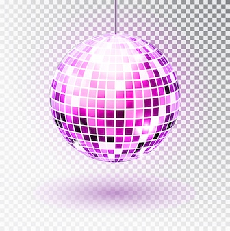 Ilustração isolada de bola de discoteca. elemento de luz de festa boate.