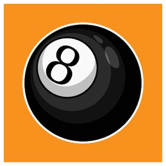 Ilustração isolada de bola oito de bilhar preto