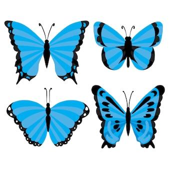 Ilustração isolada de borboletas tropicais azuis