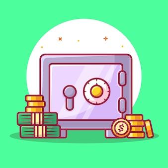 Ilustração isolada de cofre e moedas de dinheiro finanças logo vector icon ilustração em estilo simples