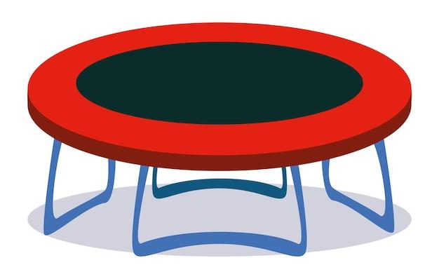 Ilustração isolada de equipamentos de jogo - cama elástica. divertimento de clipart vetorial com objetos vermelhos e pretos