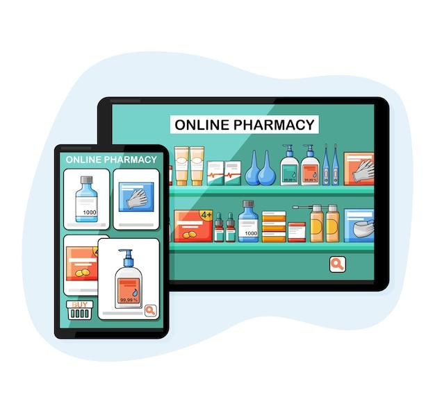 Ilustração isolada de farmácia online no estilo cartoon.