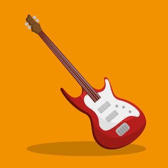 Ilustração isolada de instrumento elétrico de guitarra