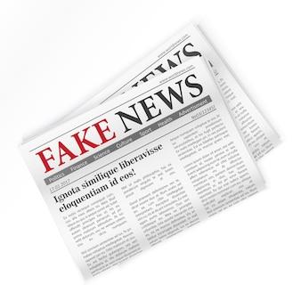 Ilustração isolada de jornal realista de notícias falsas