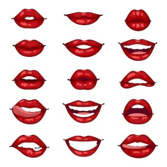 Ilustração isolada de lábios femininos.
