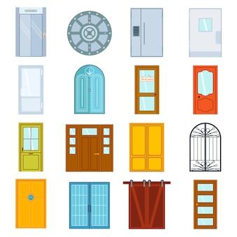 Ilustração isolada de portas.