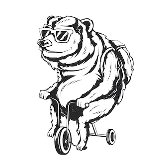 Ilustração isolada de urso em uma bicicleta