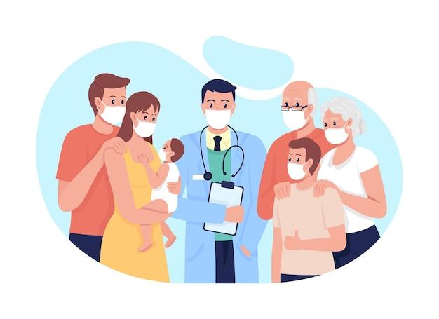 Ilustração isolada do vetor 2d da medicina familiar. tratar personagens planos de adultos, idosos e crianças no fundo dos desenhos animados. relação médico-paciente. cena colorida de médico de clínica geral