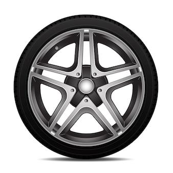 Ilustração isolada do vetor da roda do pneu de carro.