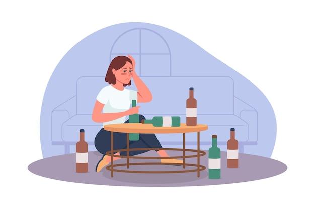 Ilustração isolada do vetor do problema 2d do alcoolismo. estilo de vida não saudável. pessoa com problema de abuso de substâncias. personagens planos de mulher alcoólatra no fundo dos desenhos animados. cena colorida de mau hábito