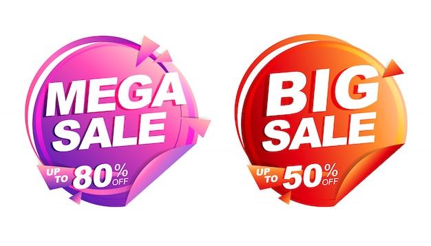 Ilustração isolada mega venda, preço de marca de desconto, faixa de desenho de círculo vermelho e rosa
