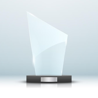 Ilustração isolada prêmio troféu de vidro
