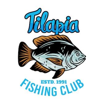 Ilustração isolada retro dos peixes do tilápia do emblema do vintage em um branco.