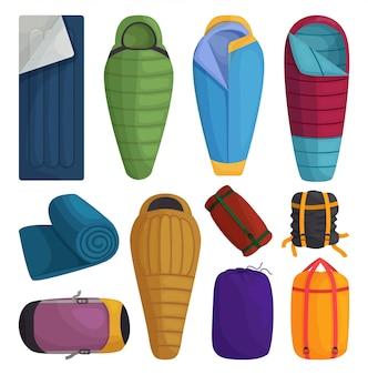 Ilustração isolada saco de dormir no fundo branco. desenhos animados definir ícone cama de campismo. desenhos animados definir ícone saco de dormir.