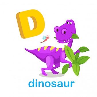 Ilustração isolado alfabeto letra d dinossauro