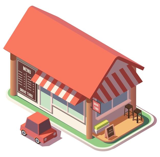 Ilustração isometric drive thru restaurant