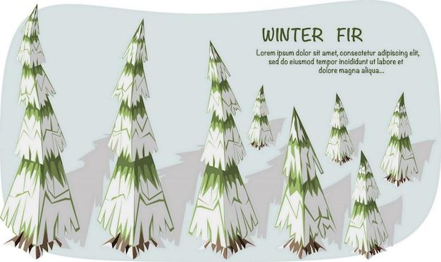 Ilustração isométrica 3d. conjunto de pinheiros isométricos com neve e sombra.