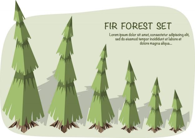 Ilustração isométrica 3d. conjunto de pinheiros isométricos com sombra.