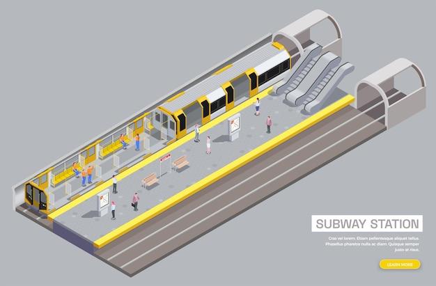 Ilustração isométrica 3d da estação de metrô e interior do vagão