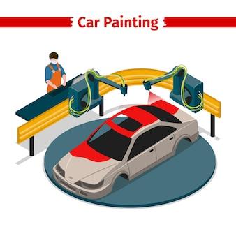 Ilustração isométrica 3d da linha automática da pintura do carro