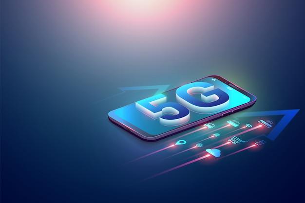 Ilustração isométrica 5g símbolo no smartphone