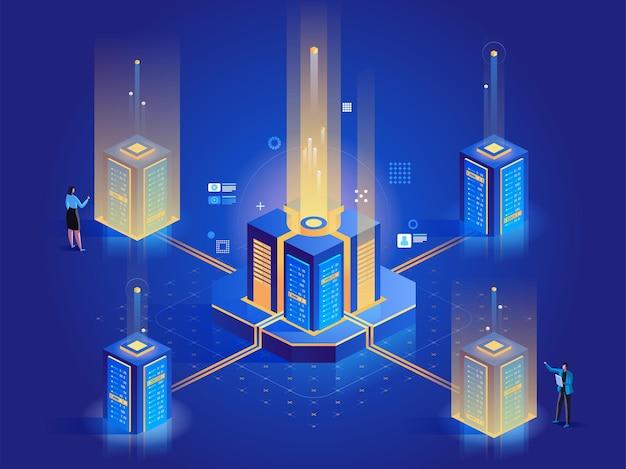 Ilustração isométrica abstrata da manutenção do servidor. personagens de desenhos animados em 3d para engenheiros de data center. administração do sistema, configuração de hardware. teste diagnóstico, suporte técnico conceito azul escuro