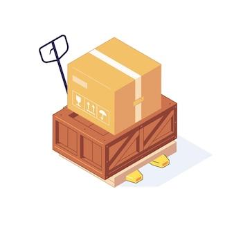 Ilustração isométrica armazém caixas de madeira paletes mercadorias