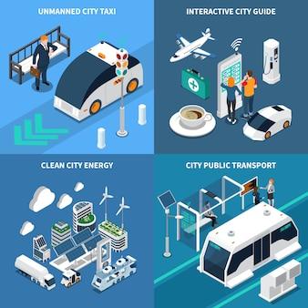 Ilustração isométrica cidade inteligente conjunto com ilustração isolada de símbolos de cidade limpa