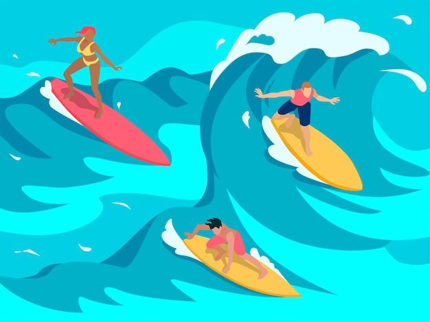 Ilustração isométrica colorida de surfistas nas ondas