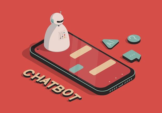 Ilustração isométrica com chatbot e smartphone