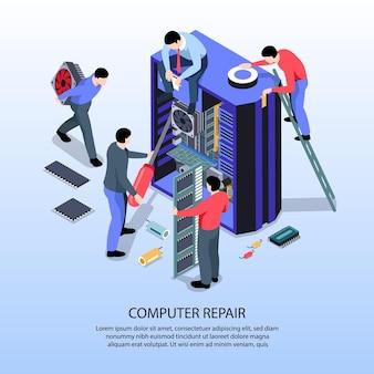 Ilustração isométrica com especialistas do serviço de conserto de computadores